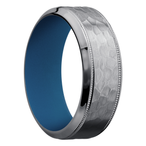 Tantalum Wedding Band With Hammer & Polish Finish