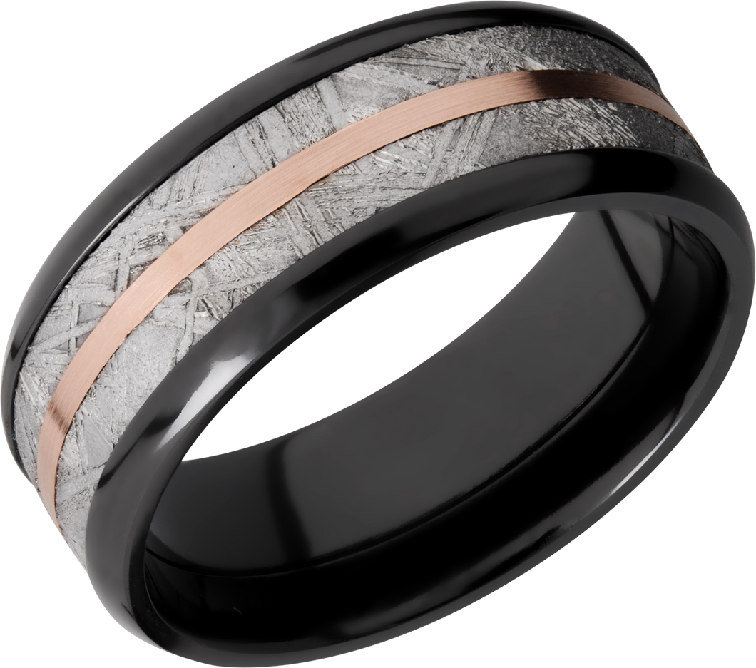 lashbrook meteorite zirconium 8mm beveled band