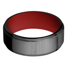 Load image into Gallery viewer, Zirconium Wedding Band With Cross Satin Black & Polish Finish