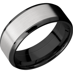 Zirconium Wedding Band With Satin & Polish Finish