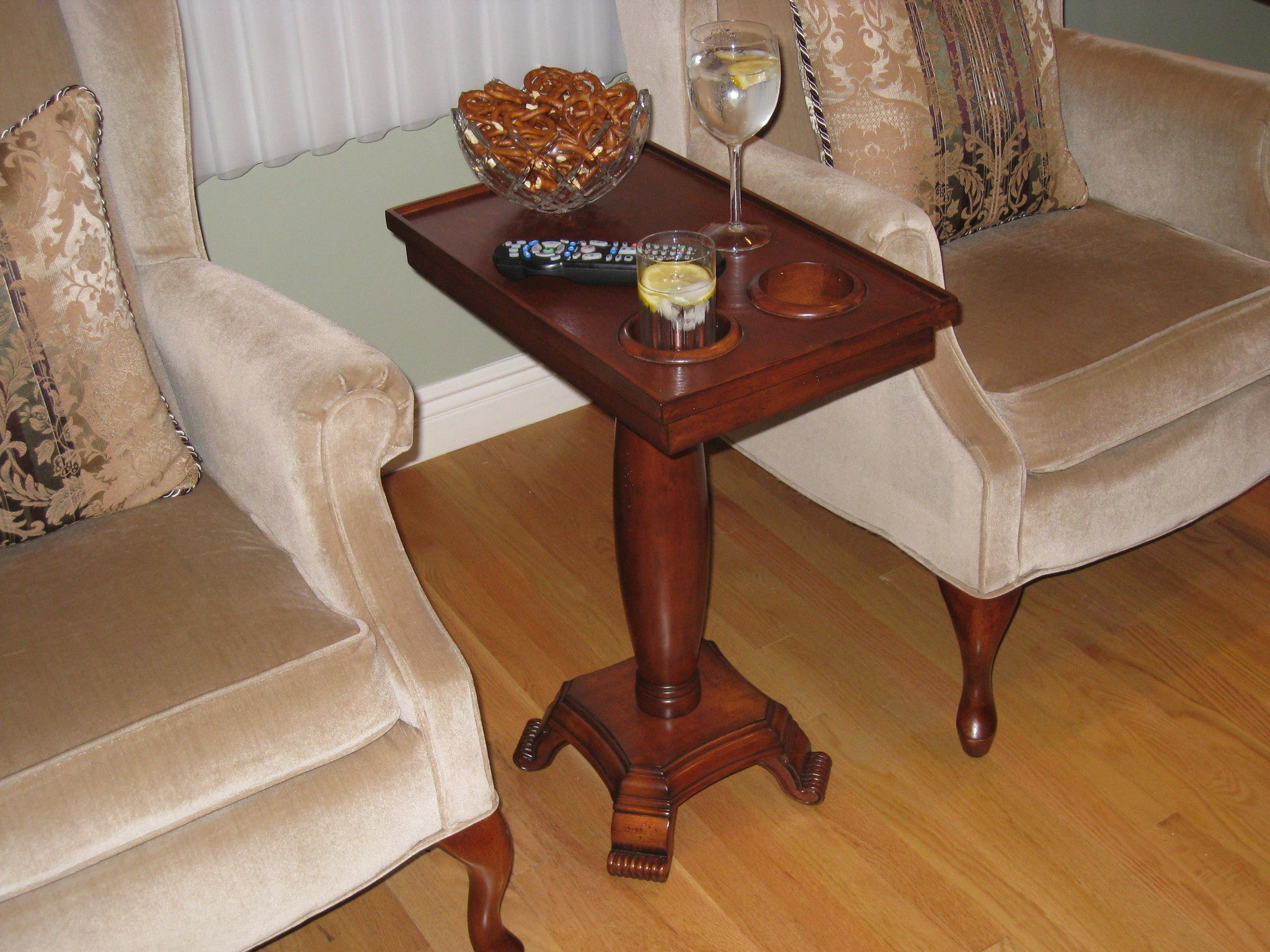 ... The ChairSide End Table Server With Oval Leg. Affordable U0026 Quality Wood  Home Theater Tables