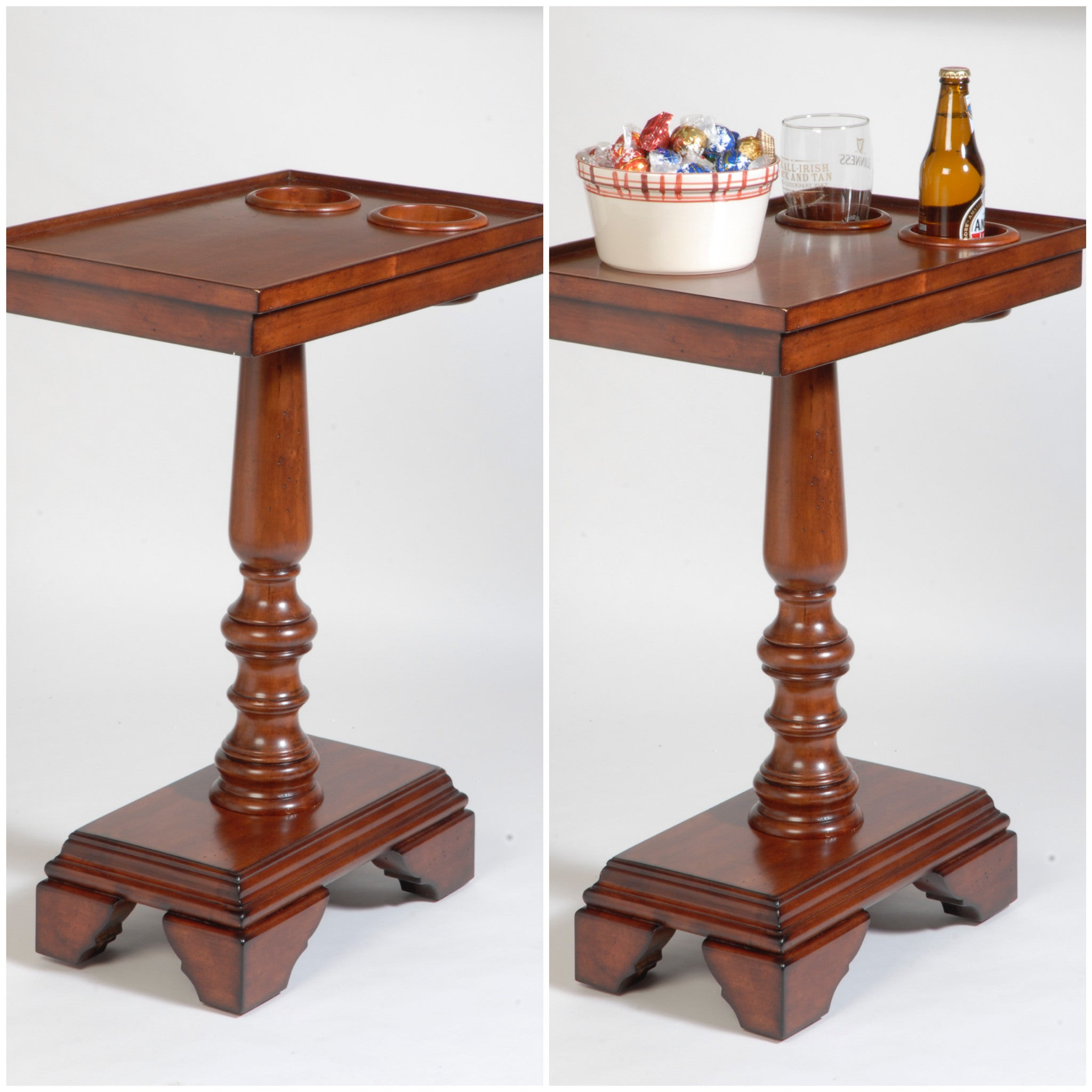 Chair Side End Table Server   Turned Leg