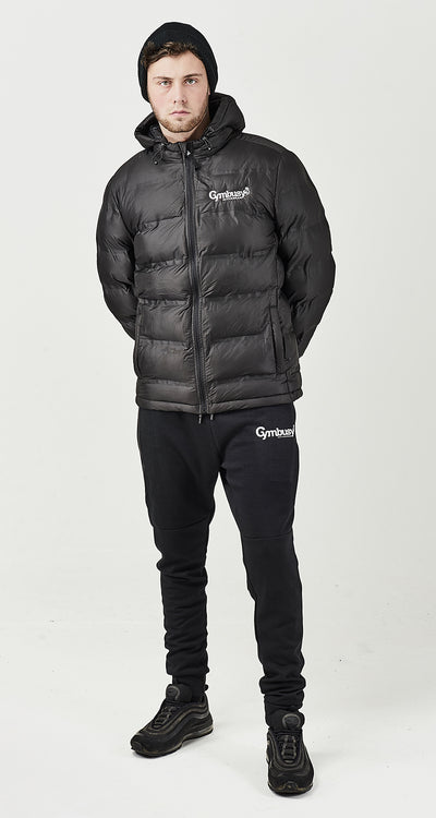 MEN'S BLK GBE HOODED PUFFER JACKET