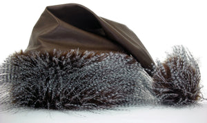 whitefuzzyball Santa hat - brown genuine leather base trimmed in airy feathery faux fur