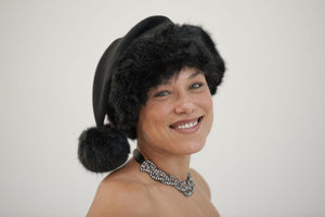 whitefuzzyball Santa hat - Black knit base trimmed in lush black French Vanoise faux fur.