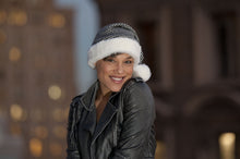 Load image into Gallery viewer, whitefuzzyball Santa hat classic black and white Houndstooth knit with French Belizuni faux faux fur