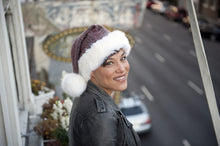 Load image into Gallery viewer, whitefuzzyball Santa hat, soft Italian wool blend with French Vanoise faux fur