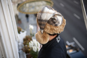 whitefuzzyball Santa hat Mohair plaid wool with French Vanoise faux fur