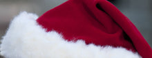 Load image into Gallery viewer, whitefuzzyball Santa hat Christmas red 100% wool base with soft white French Vanoise faux fur