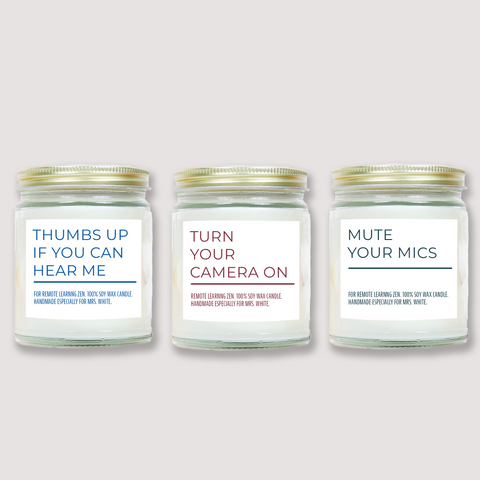 Personalized Bundle - Thumbs Up, Camera On and Mute Mic Soy Candles