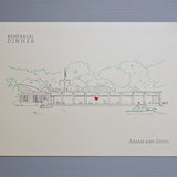 Central Park Boathouse Wedding, Rehearsal Invitation, Hand Drawn