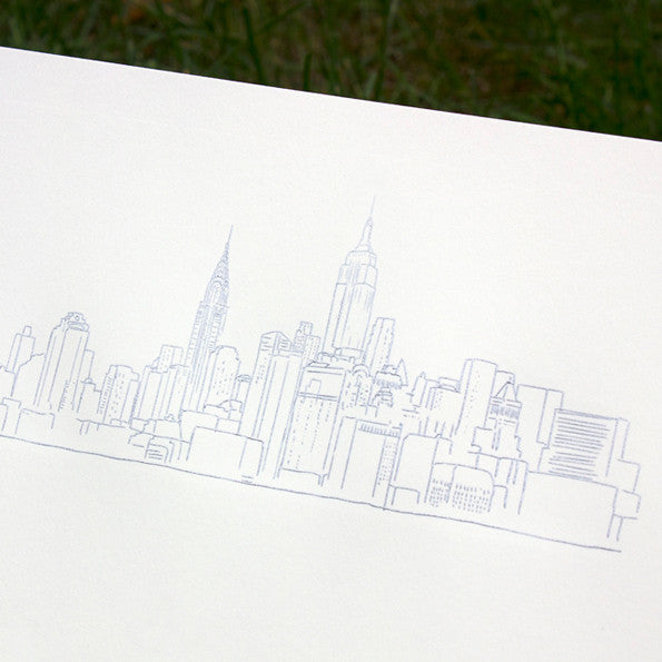 New York City Skyline Print, Embossed