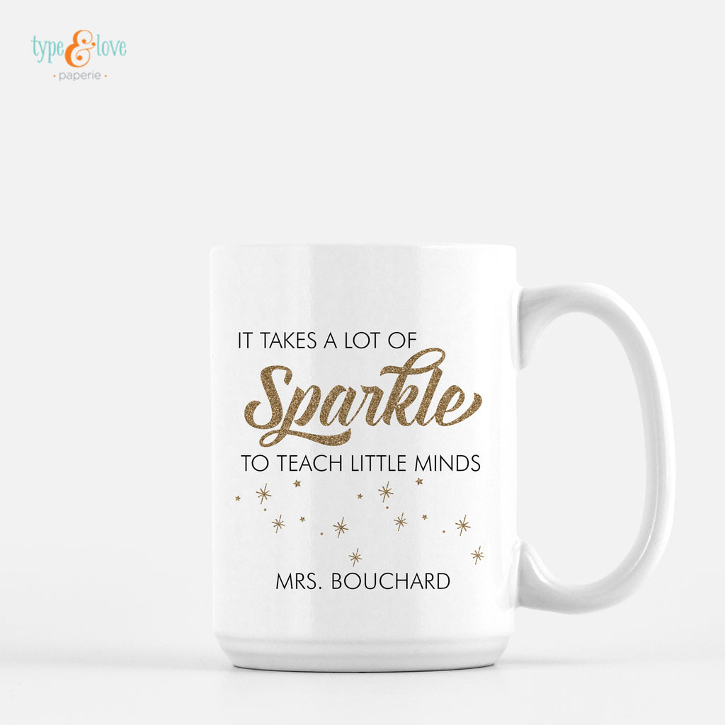 Teacher Sparkle Mug - Gold
