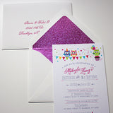 Owl theme birthday invite with glitter envelope liner