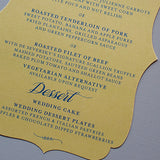 Vintage Wedding Menu Cards, Bracket Shape