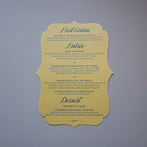 Menu, Vintage Die Cut