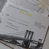 Brooklyn Bridge Wedding Invitation, Vintage Illustration