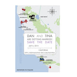 California Wedding Map Save the Date, Custom