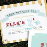 Carnival, Circus Theme Birthday Invite