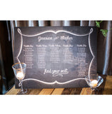 chalkboard style wedding, shower seating chart