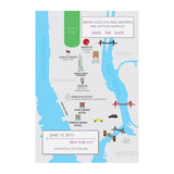 New York City Wedding Map Save the Date, Custom