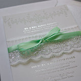 Foil Stamped, Metallic Silver, Pastel Wedding Invite, Ribbon and Lace
