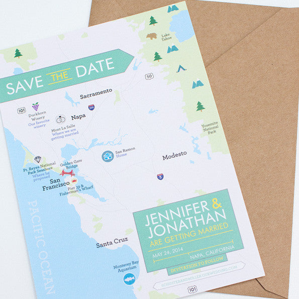 Napa Wedding Map Save the Date, Custom
