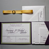 Rhinestone Buckle & Pocket Fold Wedding Invitation