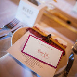 French inspired escort cards