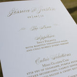 Silver and Gold Wedding Menu, Thermography