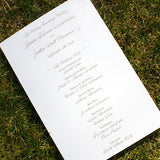 Silver and Gold Wedding Program, Thermography