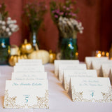 Tented Wedding Escort Cards, Teal and Gold ink