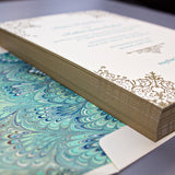Custom Letterpress Wedding Invitation, Teal and Gold ink with Italian Marbled Paper Liner and Gold Edge Paint