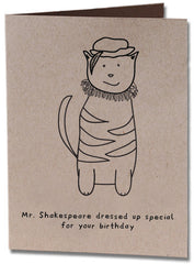 Shakespeare Cat Birthday Card
