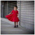 RED RIB MID SLEEVE TWIRL DRESS - MILLIE & ROO