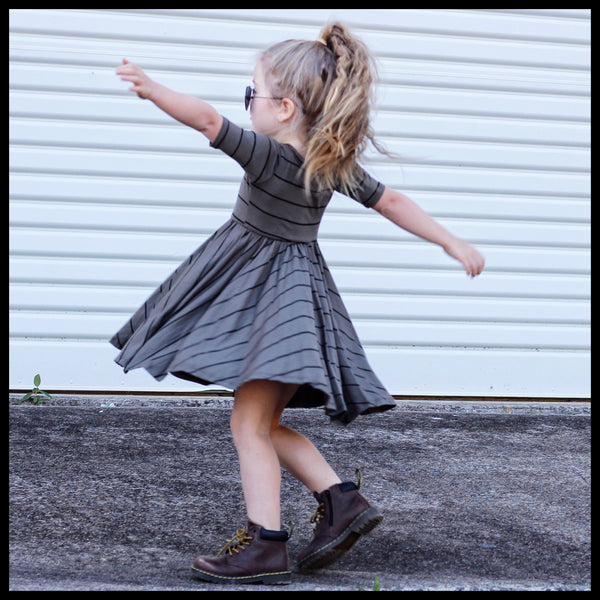 OLIVE & BLACK STRIPE MID SLEEVE TWIRL DRESS - MILLIE & ROO