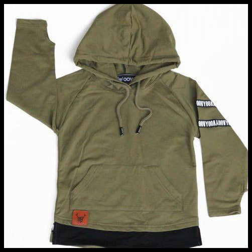 OLIVE LONG SLEEVE HOODED TOP - OOVY