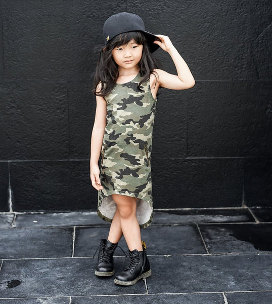 CAMO HIL LO DRESS - LIL XO KINGS