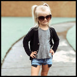 BLACK RIBBED CARDIGAN - MILLIE & ROO