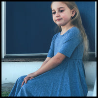 BLUE TRI BLEND MID SLEEVE TWIRL DRESS - MILLIE & ROO