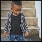 GREY/BLACK STRIPE CARDIGAN - MILLIE & ROO