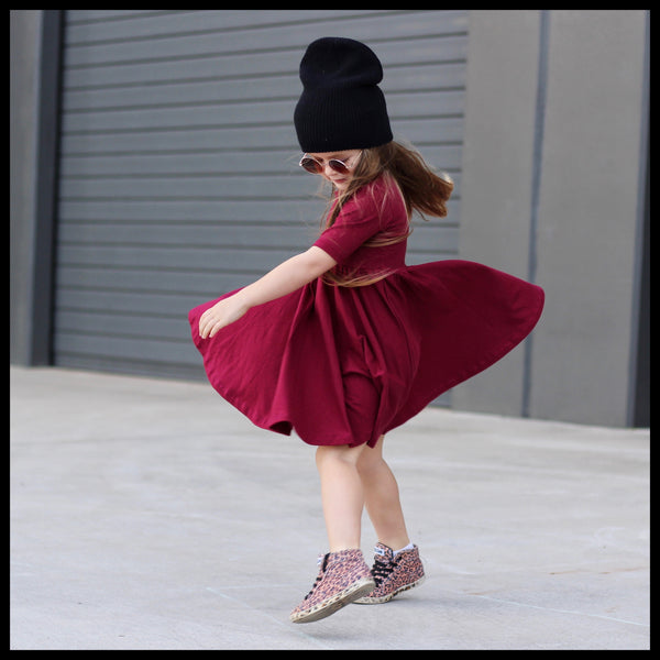 WINE MID SLEEVE TWIRL DRESS - MILLIE & ROO