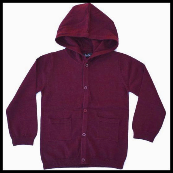 HOODLAM KNIT CARDIGAN (BURGUNDY)  - LITTLE LORDS