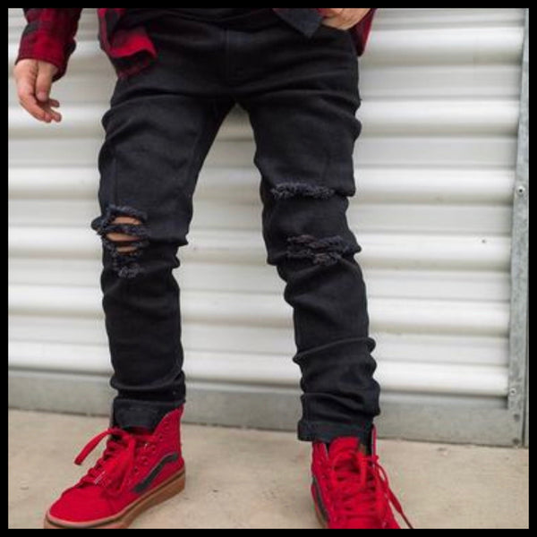 BLACK DISTRESSED DENIM - RAXTIN