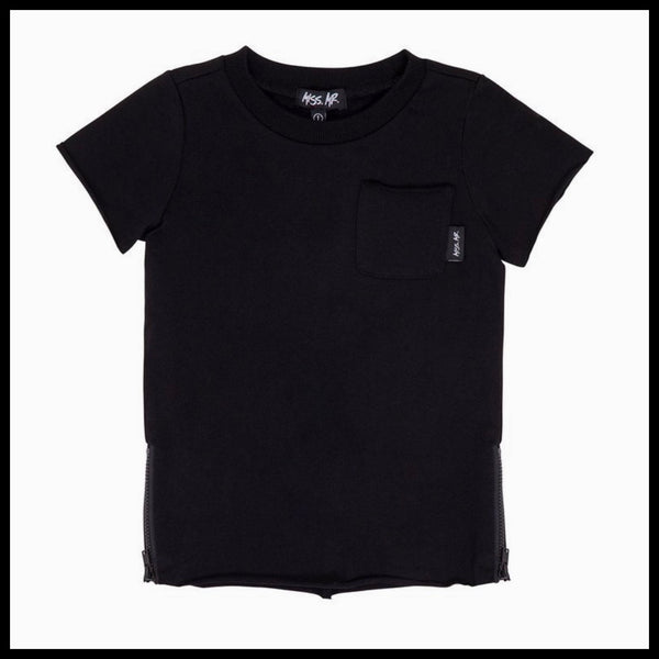 ZIPPED RAW TEE (BLACK) - MISS MR