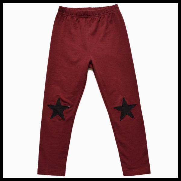 BURGUNDY STAR LEGGINGS - LITTLE LORDS