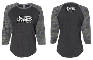Ladies Smoke Camo Basbeall Tee (4162310897796)
