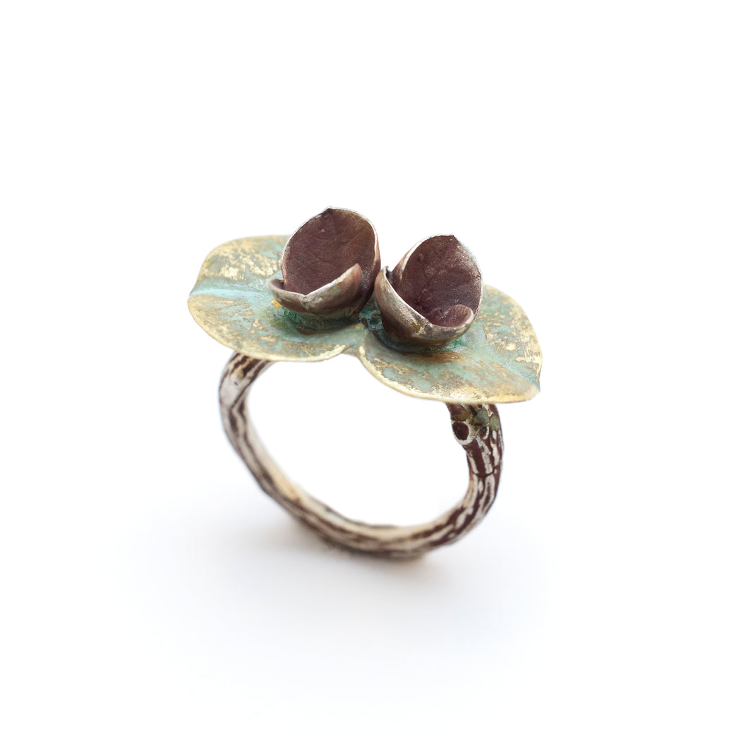 Euphorbia & Olive Branch Ring