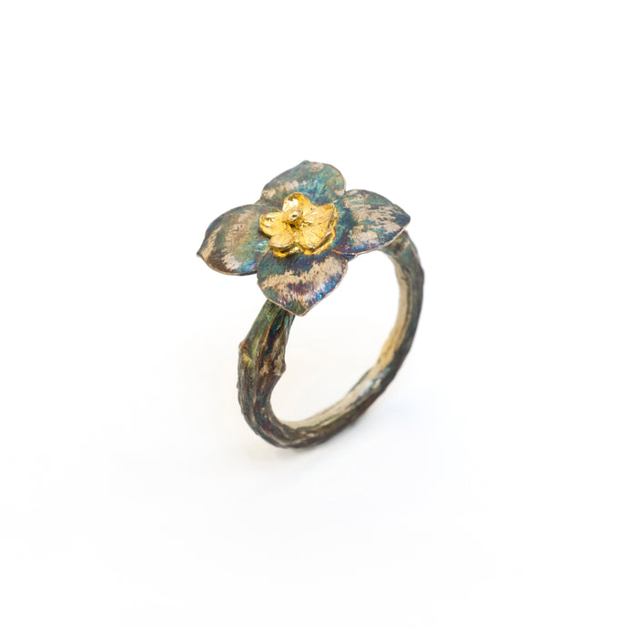 Kalanchoe & Hydrangea Seed & Olive Branch Ring