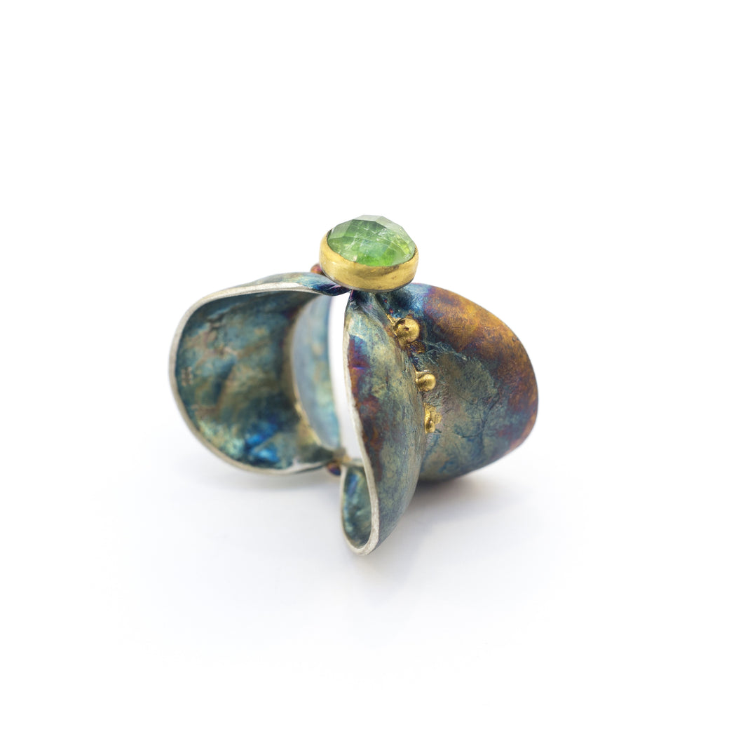Dioptase Leaves Ring - sifisjewellery Chaniajewellery Flowerjewellery Chania Flowerjewelery Flowersproducts